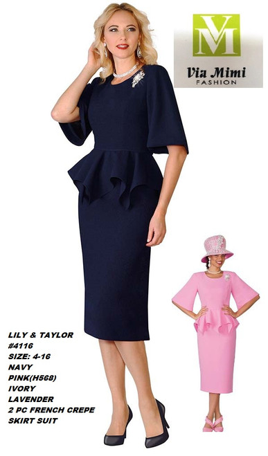 LILY & TAYLOR #4116__ 2 PC FRENCH CREPE SUIT  COLOR: NAVY, PINK, IVORY, LAVENDER  SIZE:4-16  FOR MORE IMFORMATION AND PRICE PLEASE GIVE US A CALL   WE BEAT  ALL PRICES !!!!  VIA MIMI FASHION  1333 S. SANTEE ST.  LA,CA.90015  TEL: (213)748-MIMI (6464)  FAX: (213)749-MIMI (6464)  E-Mail: mimi@viamimifashion.com  http://viamimifashion.com  https://www.facebook.com/viamimifashion    https://www.instagram.com/viamimifashion  https://twitter.com/viamimifashion