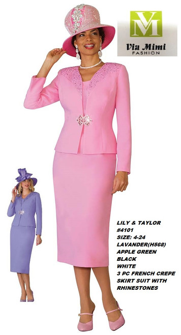 LILY & TAYLOR #4101__ 3 PC FRENCH CREPE SUIT  COLOR: LAVENDER(H565), PINK(H568), APPLE GREEN, BLACK, WHITE  SIZE:4-24  FOR MORE IMFORMATION AND PRICE PLEASE GIVE US A CALL   WE BEAT  ALL PRICES !!!!  VIA MIMI FASHION  1333 S. SANTEE ST.  LA,CA.90015  TEL: (213)748-MIMI (6464)  FAX: (213)749-MIMI (6464)  E-Mail: mimi@viamimifashion.com  http://viamimifashion.com  https://www.facebook.com/viamimifashion    https://www.instagram.com/viamimifashion  https://twitter.com/viamimifashion