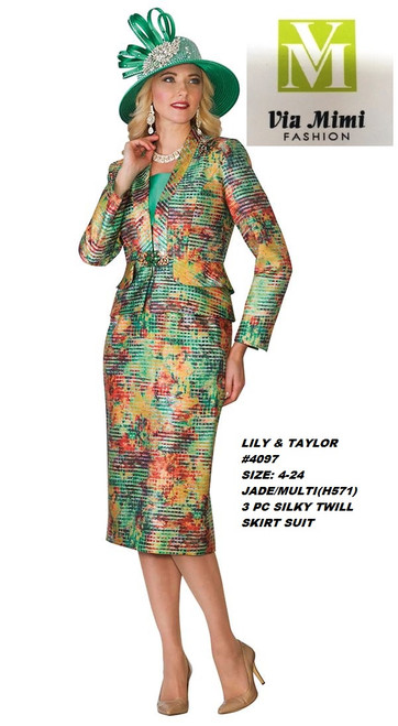 LILY & TAYLOR #4097__ 3 PC SILKY TWILL SUIT  COLOR: JADE/MULTI(H571)  SIZE:4-24  FOR MORE IMFORMATION AND PRICE PLEASE GIVE US A CALL   WE BEAT  ALL PRICES !!!!  VIA MIMI FASHION  1333 S. SANTEE ST.  LA,CA.90015  TEL: (213)748-MIMI (6464)  FAX: (213)749-MIMI (6464)  E-Mail: mimi@viamimifashion.com  http://viamimifashion.com  https://www.facebook.com/viamimifashion    https://www.instagram.com/viamimifashion  https://twitter.com/viamimifashion