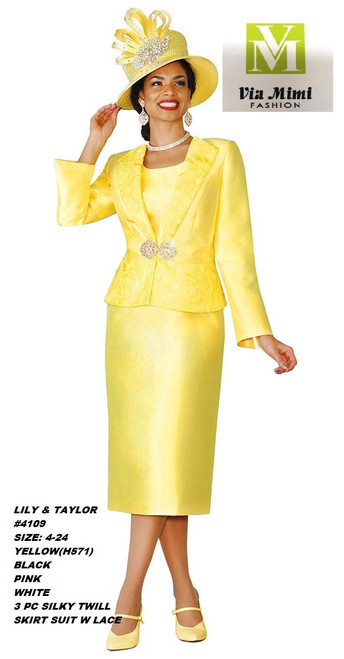LILY & TAYLOR #4109__ 3 PC SILKY TWILL  SUIT W/LACE  COLOR: YELLOW(H571), BLACK, PINK, WHITE  SIZE:4-24  FOR MORE IMFORMATION AND PRICE PLEASE GIVE US A CALL   WE BEAT  ALL PRICES !!!!  VIA MIMI FASHION  1333 S. SANTEE ST.  LA,CA.90015  TEL: (213)748-MIMI (6464)  FAX: (213)749-MIMI (6464)  E-Mail: mimi@viamimifashion.com  http://viamimifashion.com  https://www.facebook.com/viamimifashion    https://www.instagram.com/viamimifashion  https://twitter.com/viamimifashion