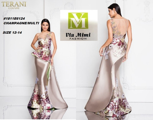 TERANI #1811E6124__ CHAMPAGNE/MULTI  SIZE : 12-14  FOR MORE IMFORMATION AND PRICE PLEASE GIVE US A CALL   WE BEAT  ALL PRICES !!!!  VIA MIMI FASHION  1333 S. SANTEE ST.  LA,CA.90015  TEL: (213)748-MIMI (6464)  FAX: (213)749-MIMI (6464)  E-Mail: mimi@viamimifashion.com  http://viamimifashion.com  https://www.facebook.com/viamimifashion    https://www.instagram.com/viamimifashion  https://twitter.com/viamimifashion