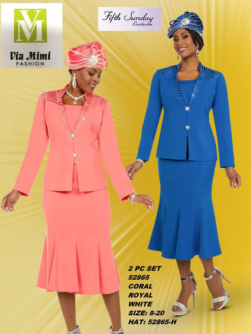 FIFTH SUNDAY #52865__ 2 PC SET  COLOR: CORAL, ROYAL, WHITE  SIZE : 8-20  HAT: 52865-H  FOR MORE IMFORMATION AND PRICE PLEASE GIVE US A CALL   WE BEAT  ALL PRICES !!!!  VIA MIMI FASHION  1333 S. SANTEE ST.  LA,CA.90015  TEL: (213)748-MIMI (6464)  FAX: (213)749-MIMI (6464)  E-Mail: mimi@viamimifashion.com  http://viamimifashion.com  https://www.facebook.com/viamimifashion    https://www.instagram.com/viamimifashion  https://twitter.com/viamimifashion