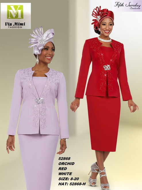FIFTH SUNDAY #52868__ 2 PC SET  COLOR: ORCHID , RED, WHITE  SIZE: 8-20  HAT: 52868-H  FOR MORE IMFORMATION AND PRICE PLEASE GIVE US A CALL   WE BEAT  ALL PRICES !!!!  VIA MIMI FASHION  1333 S. SANTEE ST.  LA,CA.90015  TEL: (213)748-MIMI (6464)  FAX: (213)749-MIMI (6464)  E-Mail: mimi@viamimifashion.com  http://viamimifashion.com  https://www.facebook.com/viamimifashion    https://www.instagram.com/viamimifashion  https://twitter.com/viamimifashion