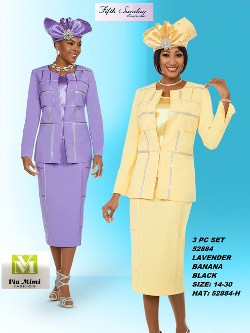 FIFTH SUNDAY #52884__ 3 PC SET  COLOR: LAVENDER, BANANA, BLACK  SIZE: 14-30  HAT: 52884-H  FOR MORE IMFORMATION AND PRICE PLEASE GIVE US A CALL   WE BEAT  ALL PRICES !!!!  VIA MIMI FASHION  1333 S. SANTEE ST.  LA,CA.90015  TEL: (213)748-MIMI (6464)  FAX: (213)749-MIMI (6464)  E-Mail: mimi@viamimifashion.com  http://viamimifashion.com  https://www.facebook.com/viamimifashion    https://www.instagram.com/viamimifashion  https://twitter.com/viamimifashion