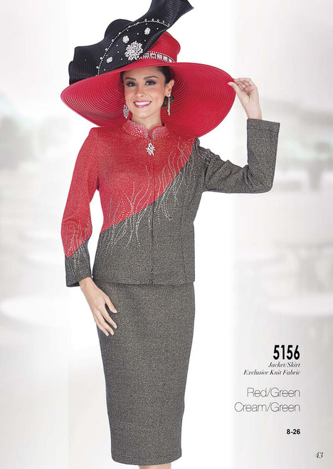 ELITE #5156__ 2 PC KNIT  SUIT  COLOR: RED/GREEN,  CREAM/GREEN  SIZE: 8-26  FOR MORE IMFORMATION AND PRICE PLEASE GIVE US A CALL   WE BEAT  ALL PRICES !!!!  VIA MIMI FASHION  1333 S. SANTEE ST.  LA,CA.90015  TEL: (213)748-MIMI (6464)  FAX: (213)749-MIMI (6464)  E-Mail: mimi@viamimifashion.com  http://viamimifashion.com  https://www.facebook.com/viamimifashion    https://www.instagram.com/viamimifashion  https://twitter.com/viamimifashion