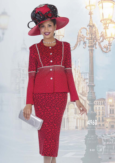 ELITE #4960__ 2 PC KNIT  SUIT  COLOR: RED, BROWN  SIZE: 8-22  FOR MORE IMFORMATION AND PRICE PLEASE GIVE US A CALL   WE BEAT  ALL PRICES !!!!  VIA MIMI FASHION  1333 S. SANTEE ST.  LA,CA.90015  TEL: (213)748-MIMI (6464)  FAX: (213)749-MIMI (6464)  E-Mail: mimi@viamimifashion.com  http://viamimifashion.com  https://www.facebook.com/viamimifashion    https://www.instagram.com/viamimifashion  https://twitter.com/viamimifashion