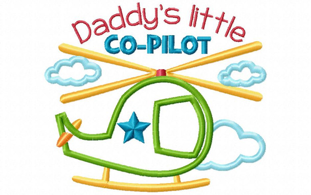 Daddy's Little Co Pilot Helicopter BOYS APPLIQUE MACHINE EMBROIDERY DESIGN 4X4, 5X7 & 6X10