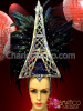 Amazing Eiffel Tower Headdress with Iridescent Raven Feathers and Rhinestones