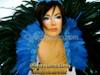 Blue Cabaret Feather Showgirl Headdress and Backpack