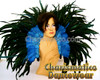Blue Cabaret Feather Showgirl Headdress and Backpack