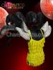 Cabaret Showgirl's Silver Shoulder Spike Backpack with Black Ostrich Plumes