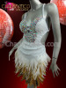 CHARISMATICO Bejeweled white sequined Latin salsa dress with natural feathered skirt