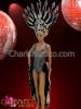 CHARISMATICO Black and White Burlesque Vegas Showgirl's leotard, tail-skirt, and Headdress