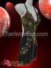 CHARISMATICO Black Latin Dance Dress with Multiple-Color Beaded and Sequined Accents
