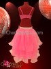 CHARISMATICO Beaded Pink belly dance bra and matching tiered organza skirt