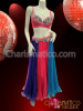 CHARISMATICO Blue Accented Pink and purple Bellydance bra and pleated skirt