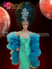 Blue sequin pageant gown, Organza ruffled boa, and matching headdress