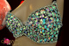 CHARISMATICO Bright pastel iridescent icy crystal beaded bra with rhinestone accents
