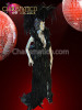 Raven Feathered Drag Queen's gown with matching headdress and packpack