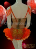 beaded and sequin embellished bright Orange ruffled Diva's dance Leotard