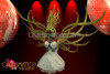 Amber edged Stylized golden angel wings and matching tall headdres