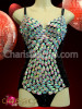 CHARISMATICO Black sequin showgirl's dance Leotard with teardrop iridescent white crystals