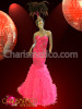 Corset style Bejeweled Pink column gown with pink feather skirt