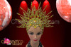 Beaded star-burst golden open work cap headdress with amber crystals