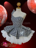 CHARISMATICO Asymmetrical Black and white Chess check vinyl Gothic Dollie Dress