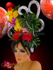 Birdcage accented daffodil and Mum floral headdress with silver swirls