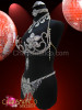 CHARISMATICO Burlesque rhinestone Floral style cage bra, thong and collar necklace set