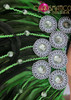 CHARISMATICO Classic fancy green showgirl diva's cabaret headdress and matching collar