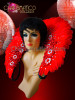 CHARISMATICO Classic red feather showgirl's cabaret backpack collar with silver beads