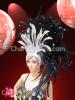 CHARISMATICO Asymmetrical Drag Queen Iridescent Silver Accented Black Feather Showgirl Headdress