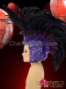 CHARISMATICO Appliqué Accented Cap-Style Diva's Two Toned Purple Feather Mohawk Headdress