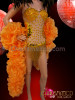 CHARISMATICO Amber Accented Nude Gold Fringed Leotard With Organza Ruffle Boa