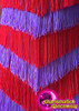 CHARISMATICO Chevron Patterned Red And Purple Fabric Fringe Halter Dance Dress