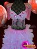 CHARISMATICO Blush Pink Beaded Bra And Organza Ruffle Skirt Burlesque Set