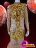 CHARISMATICO Beautiful Gold Trimmed Nude Pageant Dress With Matching Diva Necklace