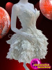 CHARISMATICO Angelic Pure White Corset Styled Feather Covered Diva's Dolly Dress