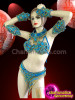 CHARISMATICO Complete Sky Blue Crystal And Gold Beaded Brazilian Samba Costume