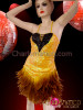 CHARISMATICO Black Accented Metallic Yellow Sequined Feather Halter Latin Dance Dress