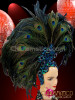 CHARISMATICO Brilliant Iridescent Beaded Asymmetrical Peacock Plume Accented Black Feather Headdress