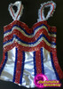 CHARISMATICO 4th of July Floor Length Tri-Colored  cancan dance costume