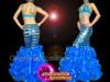 CHARISMATICO Blue Water Performance Mermaid Costume with Beaded Bra and Ruffled Skirt