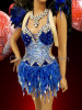 CHARISMATICO Bright Blue And Silver Crystal Accented Dress With Silver Headdress and Black Feathery Wings