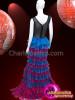 CHARISMATICO Beautiful multi layered baby pink and blue super nova floral leotard dress