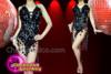 CHARISMATICO Awesome black asymmetrical fringe sexy diva's stylish leotard dress