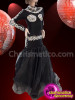 CHARISMATICO attractive long high neck collared black dance gown with stone works