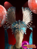 CHARISMATICO Blue Metallic Wing Styled Showgirl's Headdress and Backpack with Blue and Silver Crystals